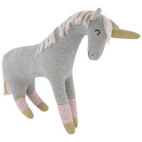 Grey Unicorn Soft Toy -  white