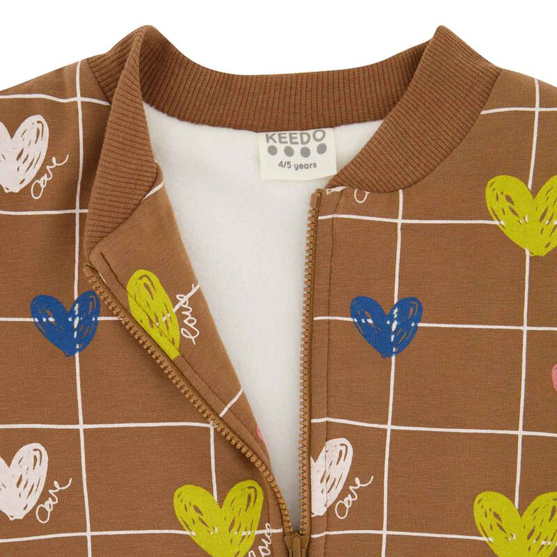 Girls Heart Grid Soft Jacket