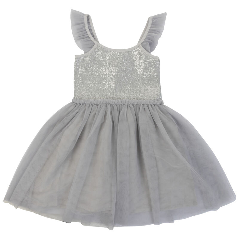 Girls Lory Party Dress -  grey