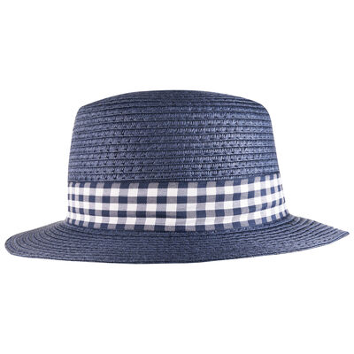 Boys Check Boater Hat