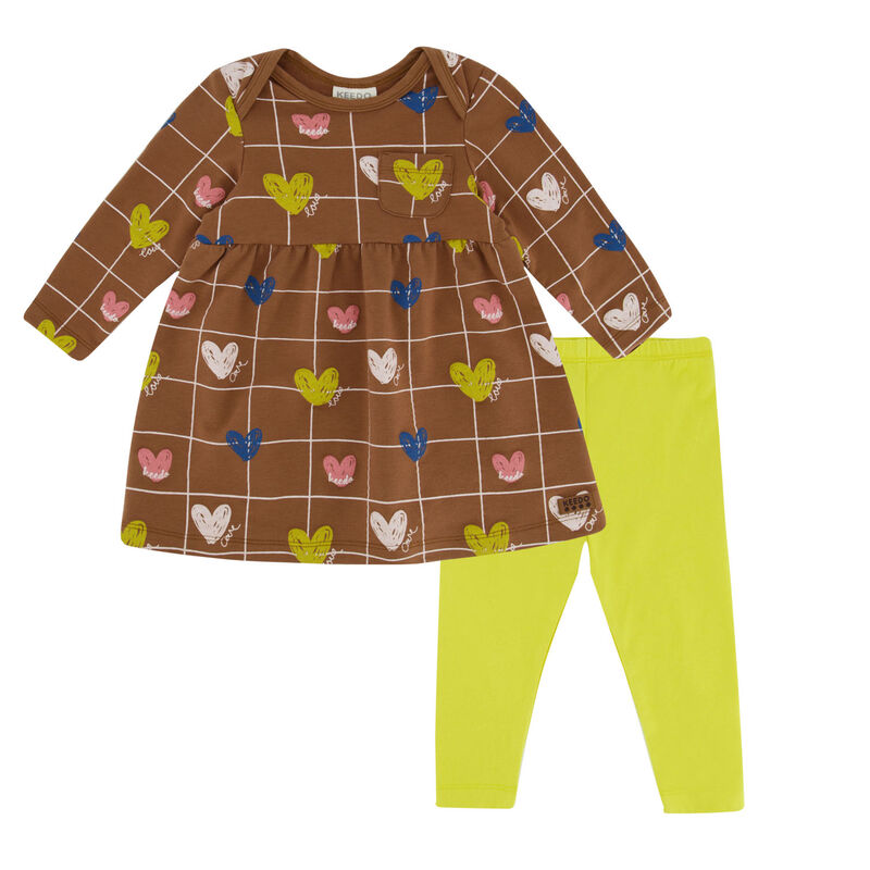 Baby Girls Heart Grid Dress Set