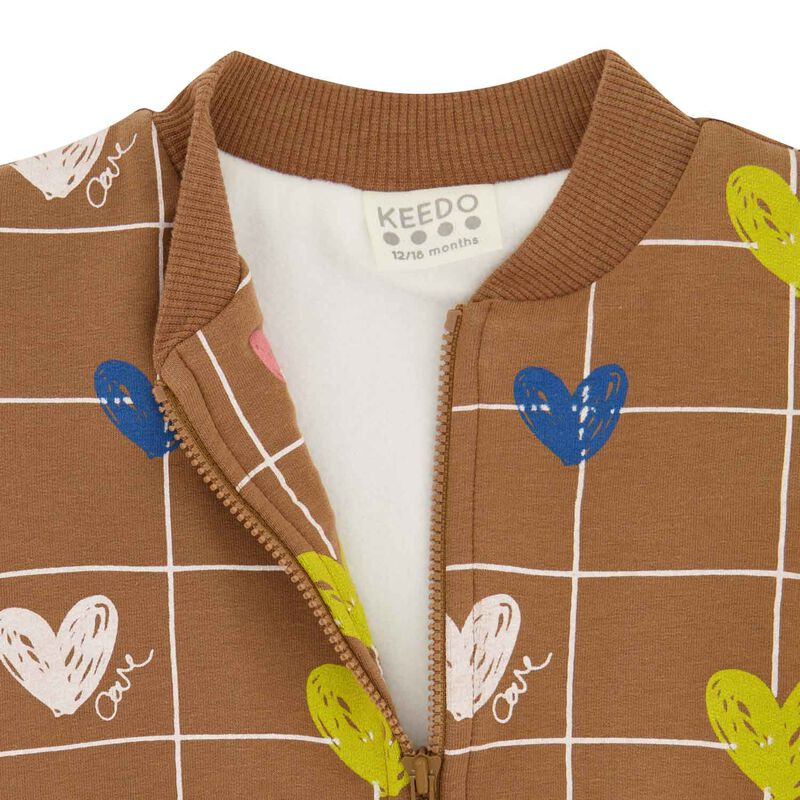Baby Girls Heart Grid Soft Jacket