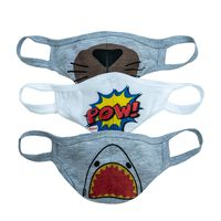 Boys Fabric Single-Layer Face Mask Cool 3-Pack -  assorted