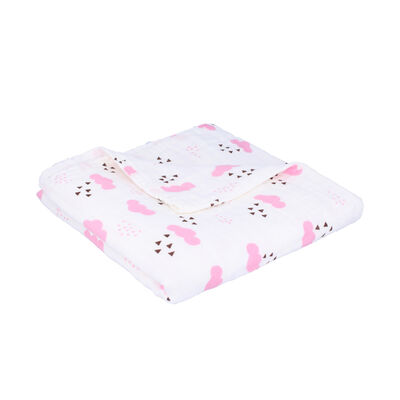 Baby Girls Pink Cloud Muslin Blanket