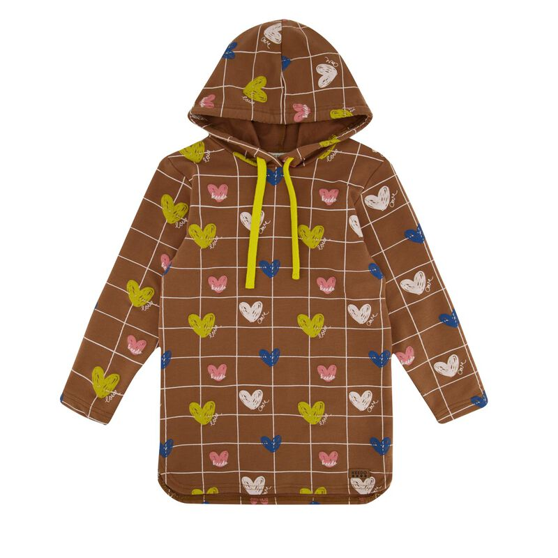 Girls Heart Grid Hoodie Set
