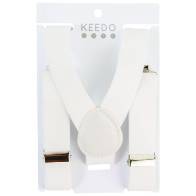Boys White Suspenders