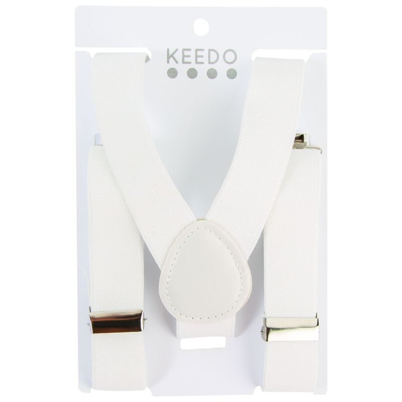 Boys White Suspenders -  white