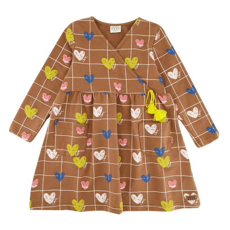 Girls Heart Grid Dress