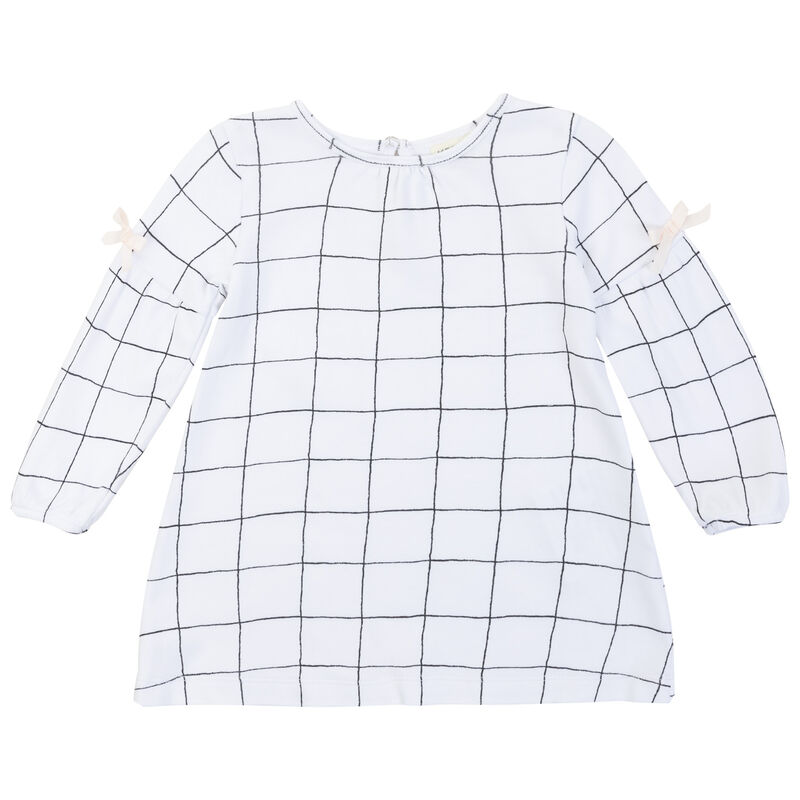Baby Girls Ellie Grid Dress  -  white