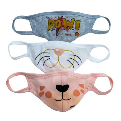 Girls Fabric Single-Layer Face Mask Cool 3-Pack