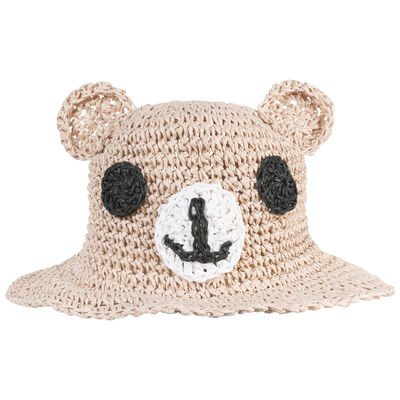 Girls Lady Bear Straw Floppy Hat
