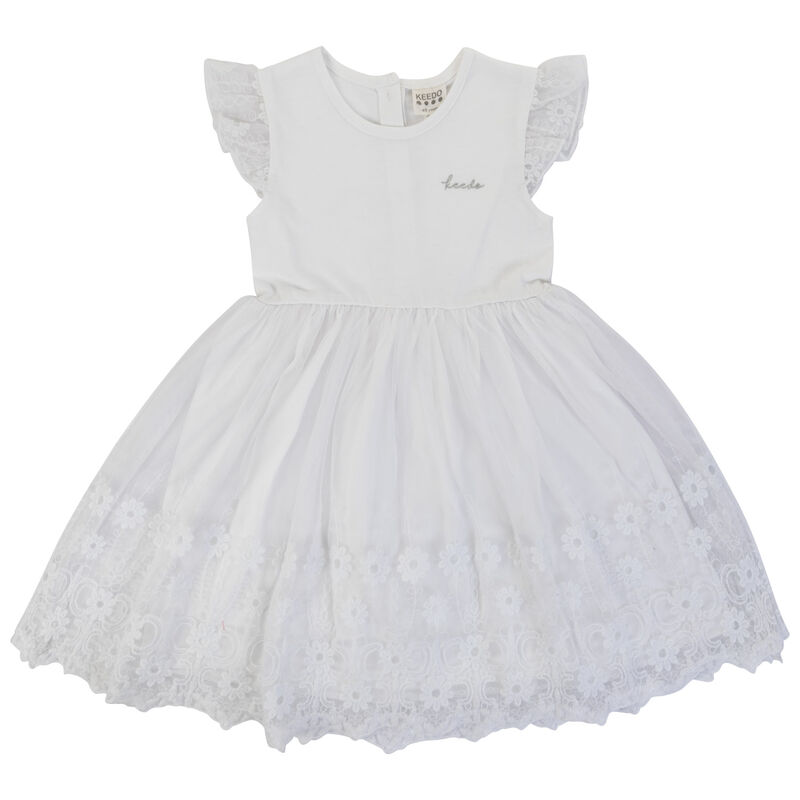 Girls Hailey Lace Dress -  white