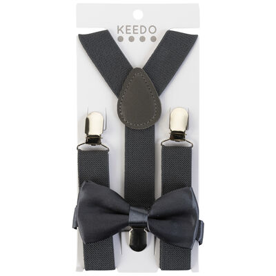 Boys Charcoal Suspender and Bow Tie Set