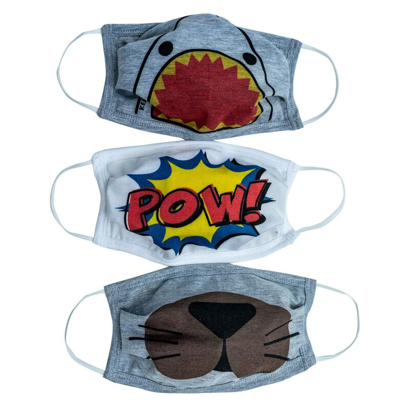 Boys Fabric 2-Layer Face Mask Fun 3-Pack -  assorted