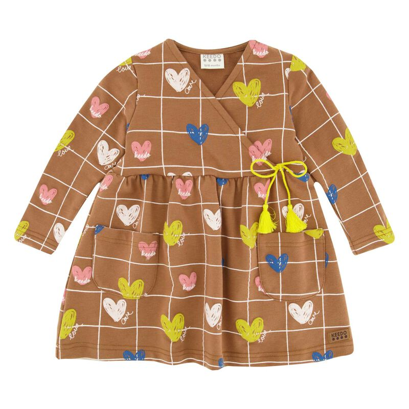 Baby Girls Heart Grid Dress